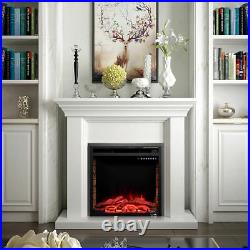 26 750W-1500W Fireplace Electric Embedded Insert Heater Glass Log Flame Remote