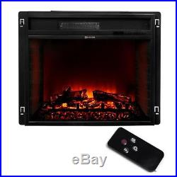26 Black Electric Firebox Fireplace Heater Insert flat Glass Panel With Remote