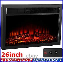 26 Embedded Electric Fireplace Wall Mount Heater Flame Insert with Remote Control