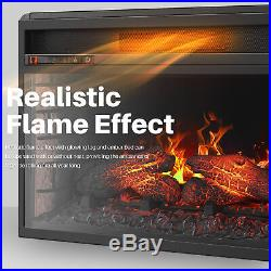 26 Flat Ventless Insert Heater Electric Fireplace Adjustable Flame, Black