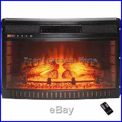 26 Freestanding Curved Tempered Glass Insert Electric Fireplace Stove with Remote