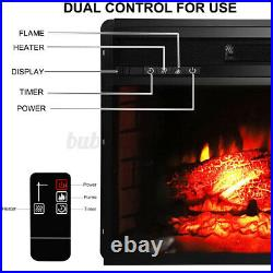 26 Recessed Electric Heater Fireplace Insert w Remote Control Thermostat 1500W