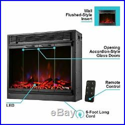 26 Traditional LED Electric Fireplace Insert With Remote Control Black