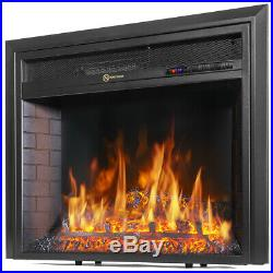 26in Electric Firebox Insert with Fan Heater and LED Glowing Logs for Fireplace