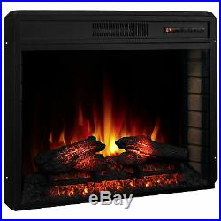 28 1400W Electric Fireplace Insert Stove Heater WithRemote Control, Black