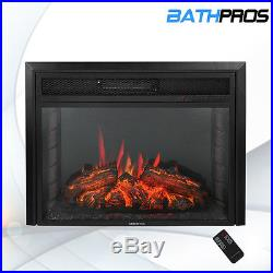 28 1500W Freestanding Insert Log Electric Fireplace Firebox With LED Light Remote