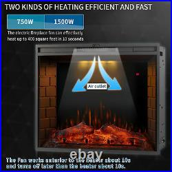 28''/30''/33''Electric Fireplace Insert Heater Recessed Wall Mounted Remote