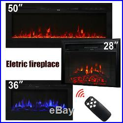 28''/36''/50'' Electric Fireplace Insert Heater Recessed Wall Mounted Remote