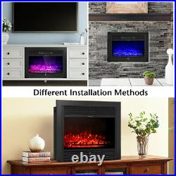 28.5 Christmas Fireplace Electric Embedded Insert Heater Glass Log Flame Remote