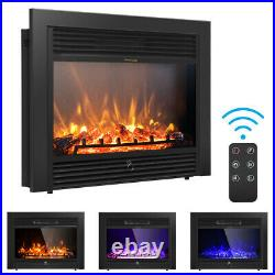 28.5 Electric Fireplace Embedded Insert Heater Glass Log Flame Remote