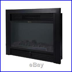 28.5 Electric Fireplace Insert Embedded Heater Glass Log Flame Remote 750With1500