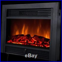 28.5 Embeddable Electric Wall Insert Fireplace Home Heater Wood Stove with Remote