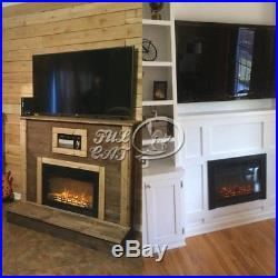28.5 Embedded Electric Fireplace Insert Heater Glass Log Flames Remote Control