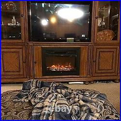 28.5 Fireplace Electric Embedded Insert Heater Glass Log Flame Remote