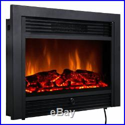 28.5'' Fireplace Electric Embedded Insert Heater Glass Log Flame Remote Easy On