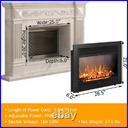 28.5 Fireplace Electric Embedded Insert Heater Glass Logo MultiColor Flame Home