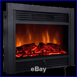 28.5 Wall Electric Heater Fireplace Insert Log Flame Remote Control Warm Heat