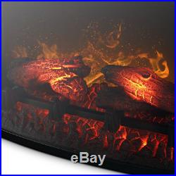 28 Black Electric Firebox Fireplace Heater Insert Curve Glass Panel With Remote