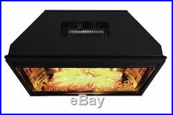 28 Black Electric Firebox Fireplace Heater Insert flat Glass Panel With Remote