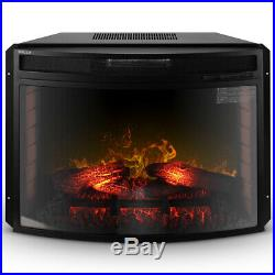 28 Electric Firebox Fireplace Heater Insert Curve Glass Panel with Remote, Black