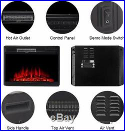 28 Electric Firebox Insert with Fan Heater and Glowing Logs for Fireplace