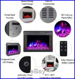 28 Electric Fireplace Embedded Insert Heater Adjustable Log Flame Remote CE CSA