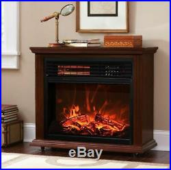 28 Electric Fireplace Flame 3D Firebox Embedded Insert Heater with Caster Wheel
