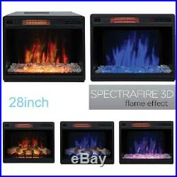 28 Electric Fireplace Insert Heater Glass Log 3Mode Multi Flame Remote Control