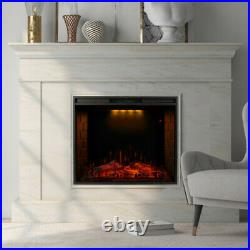 28 Embedded Fireplace Electric Insert Heater Glass View Log Flame Remote Home
