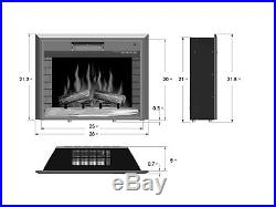 28'' Embedded Insert Free Stand Fireplace Heater Box Log Wood Flame Remote Glass