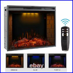 28 Fireplace Electric Embedded Insert Heater Glass Log Flame Color Remote 1500W