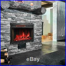 28'' Fireplace Electric Insert Warm Heater Log Flame Remote Home Heater 1500W
