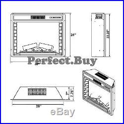 28 Freestanding Insert Tempered Glass Electric Fireplace Heater Stove with Remote