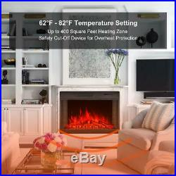 28 Inch Electric Fireplace Black Insert Heater Wall Mounted with Remote Control