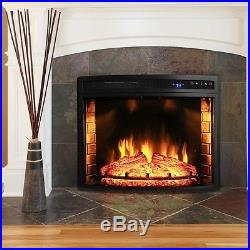 28 in. Freestanding Electric Fireplace Insert Heater Black Curved Tempered Glass