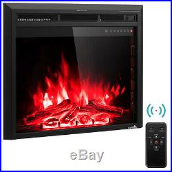 30'' 750W-1500W Fireplace Electric Embedded Insert Heater Glass Log Flame Remote