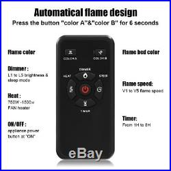 30 750-1500W Embedded Fireplace Electric Insert Heater Log Flame Black 5100BTU