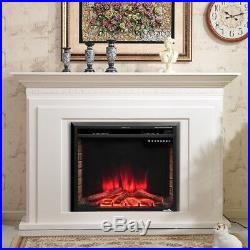 30 750-1500W Home Embedded Fireplace Electric Insert Heater Log Flame Black US
