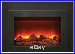 30 Deep Insert Electric Fireplace withBlack Steel Surround and Overlay