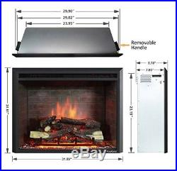 30 inch Electric Fireplace Insert with Remote Control Energy Saving Heater