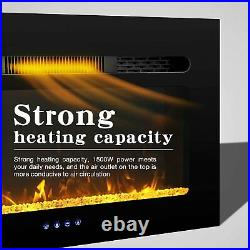 30inch Electric Fireplace Insert Wall Mounted Electric Heater Touch Screen 1500W