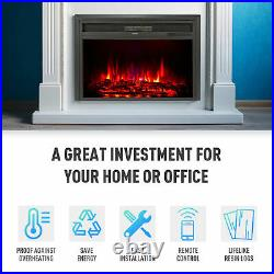 32 1500W Electric Fireplace Heater Recessed Insert 6 Flame Effects TV Stands