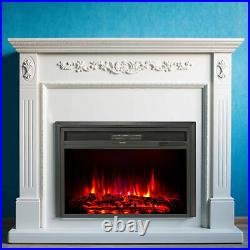32 1500W Electric Fireplace Heater Recessed Insert 6 Flame Effects w Thermostat
