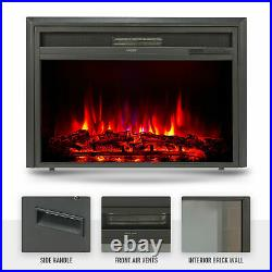 32 1500W Recessed Electric Fireplace Heater Insert w Remote Control for Bedroom