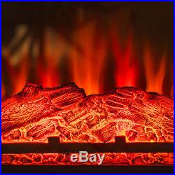 32 Electric Fireplace Insert Brown Floral Mantel Firebox 3D Flame Heater withLogs
