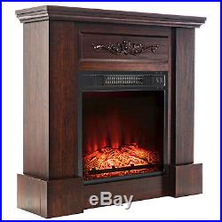 32 Electric Fireplace Insert Brown Floral Mantel Firebox Flame with Logs Heater