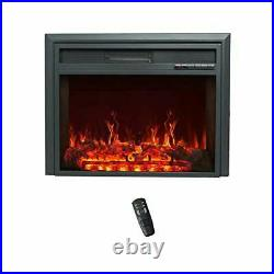 32 Inch Wide Electric Fireplace Insert, Portable Free-Standing Heater with Remo