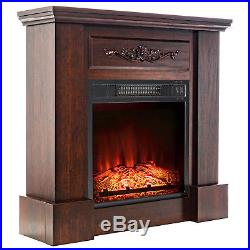 32 Insert Brown Wood Style Mantel Electric Fireplace Floral 3D Flame Log Heater