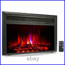 32 Recessed Electric Heater Fireplace Insert 6 Flame Effects TV Stands 1500W