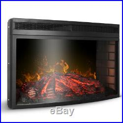 33 3D Infrared Quartz Electric Fireplace Insert with Timer and Flame Option